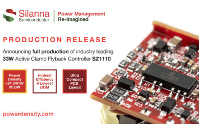 Silanna Semiconductor Expands Leading Position in Integrated Active Clamp Flyback Controller Market with SZ1110 Full Production Announcement